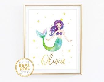 Mermaid Custom name, Nursery print, kids room, playroom, Mermaid birthday, Gold Foil, Real Foil Print, Silver, Wall Art,  baby shower gift,