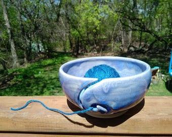 Beautiful Ceramic Yarn Bowl, hand carved, Yarn keeper, knitting, wool, crochet, Handmade wheel-thrown, blue opal glaze, porcelain clay