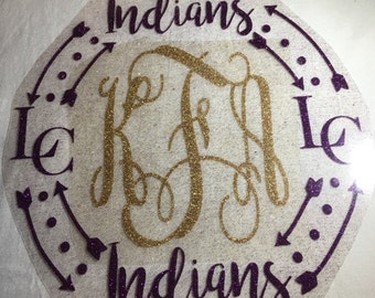 Iron on LC Indians Monogram / Indians Decal / lc Indians monogram / glitter iron on monogram
