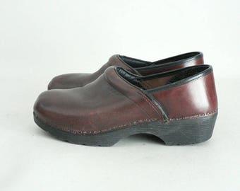 Women Size 40 Oxblood Leather Platform Clog Shoes