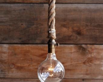 The Vixen Pendant Light - Industrial Rope Lighting - hanging Ceiling Lamp - rustic Swag Light chandelier - Edison Bulb Statement fixture