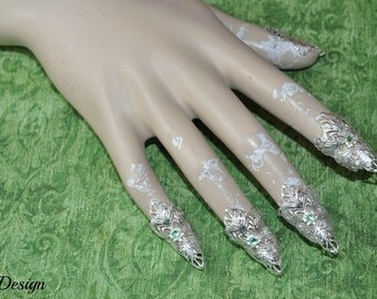 Fantasy Claws (silver/ light green rhinestones)