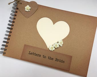 letters to the bride bridal memory book scrapbook album keepsake gift for the bride rustic hen bachelorette party honeymoon gift