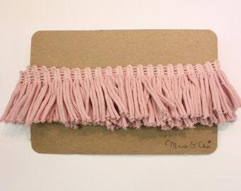 Pink Fringe Cotton Trim End