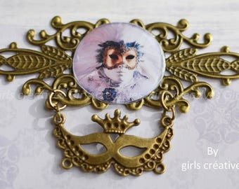Original creation 'Carnival' for scrapbooking or jewelry 85mm x 54 mm