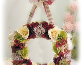 Country Roses Large Door Wreath 24 Inch