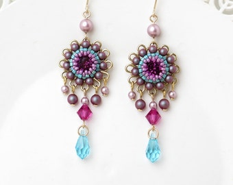 Colorful earrings, Crystal chandelier earrings, Floral earrings, Boho chic earrings, Long drop earrings, Crystal drop earrings