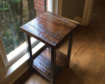 Reclaimed barnwood side table