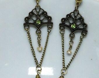 Antiqued fan dangle earrings