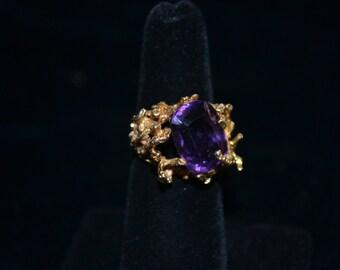 Handmade 14K Gold and Amethyst Ring - 11.34g