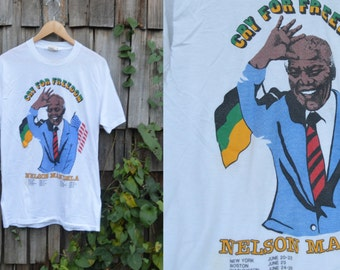 Vintage Nelson Mandela shirt | Nelson Mandela tshirt | Cry for Freedom | 80s rights movement shirt | Liberation shirt | Streetwear