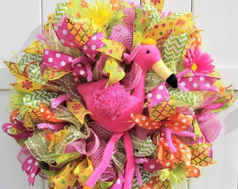 Flamingo Wreath, Summer Wreath, Tropical Wreath, Summer Deco Mesh Wreath, Summer Mesh Wreath, Flamingo Mesh Wreath, Pink Mesh Wreath
