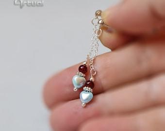 Sterling silver stud chain earrings, silver jewelry, dangle heart earrings, minimalist earrings, birthday gift for women, minimalist jewelry