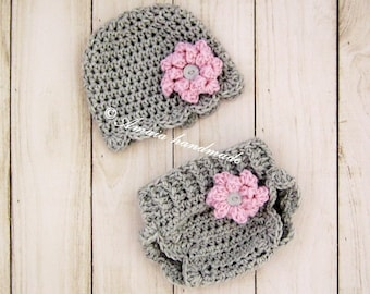 Crochet diaper cover set - hat and diaper cover for baby girl, for Newborn to 12 Months, Great for photo prop or baby shower gift!
