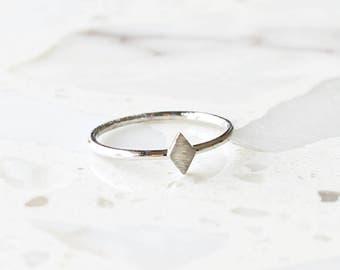 R1037 - New Sterling Silver Matte Diamond Shape Ring