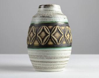 Vintage ceramic vase by Scheurich, 70s, white black, west German pottery, Mid Century