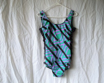 90s Turquoise Black Scrunch Sides One Piece Bathing Suit