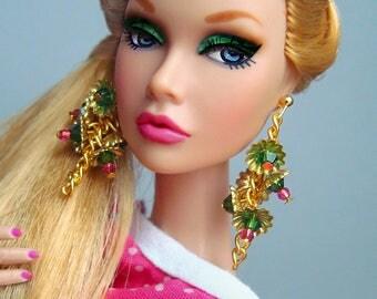 Fashion Royalty, Barbie Earrings Gold Tassel, Swarovski Flower