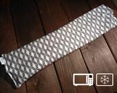 "Large Premium Sectioned Heat Wrap / Cold Wrap / Grey Geometric Diamond 24""x6"""