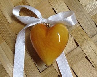 HEART BLOWN: blown Murano glass heart.  Amber.