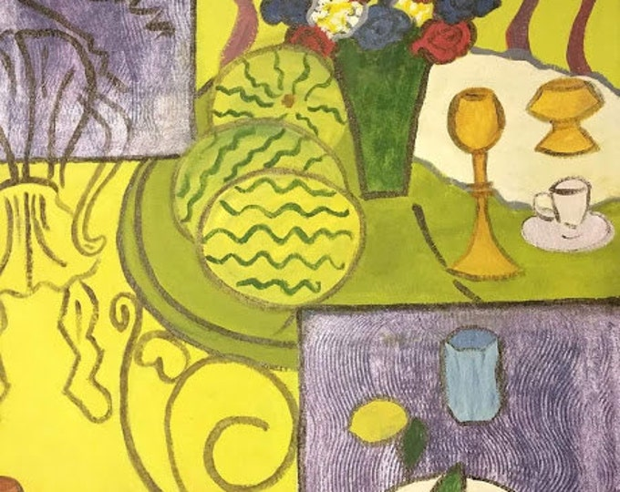 """Titled """"Like Matisee Interior in Yellow & Blue"""", Handpainted Floorcloth, Painted Canvas Art Rug, Offered by Artist"""