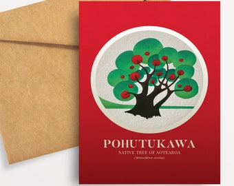 Pohutakawa illustration in gouache. A6 greeting card with envelope – Native Trees of Aotearoa series.