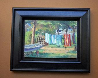 Beach Towels, Original Oil Painting, Framed