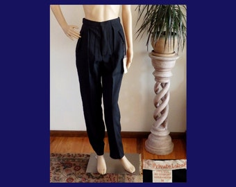 """NWT PINKY & DIANNE Private Label Black Silk Button-Fly High Waist Pants~Slim Tapered Leg~Inseam 31""""~27W~New Vintage~Size Medium/Approx Sz 4~"""