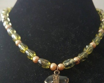 Green Black and Gold Glass Bead Necklace with Black Elephant Charm (20172N)
