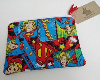 Handmade Small Makeup Bag, Supergirl, Super Girl, Super Hero and Denim Padded Pouch