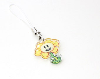 """Undertale Flowey 1"""" Mini Acrylic Charm with Phone Strap (Double Sided Front & Back)"""
