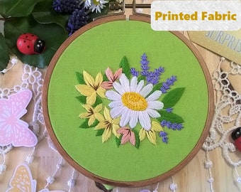 Embroidery Fabric Pattern, spring bouquet , Modern Embroidery Kit, Contemporary Embroidery Hoop Art, Needlework Pattern, Flowers Design