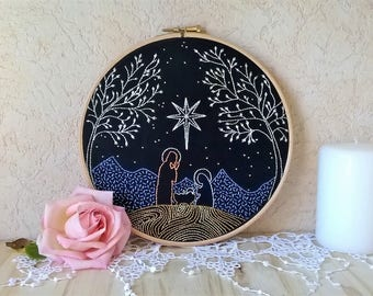 embroidery hoop art - Nativity scene -  wall decor for nursery - embroidery wall art - christmas home decor