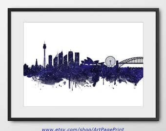 Sydney Skyline Print Navy Blue Stars, Sydney Cityscape, Australia Print, Sydney Watercolor Art  Home Decor Sydney Colorful Poster (A0531)