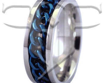 Blue Spinner Ring | Stainless Steel Blue Chain Spinner Ring | Worry Band | Blue Rings | Spinner Rings