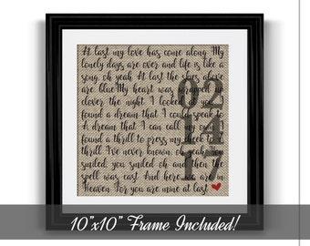 Framed Wedding Song Lyrics   1 Year Anniversary gift   Gift for Her   Gift for Him   Song Lyric Art   Wedding Gift   Valentine's Day Gift