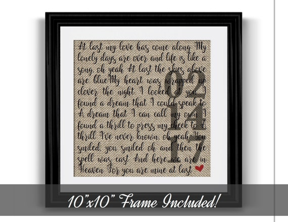 Him And Her Wedding Gifts: Framed Wedding Song Lyrics 1 Year Anniversary Gift Gift