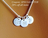 Personalized initial necklace, Sterling Silver disc necklace, personalized necklace, gift for mom sister