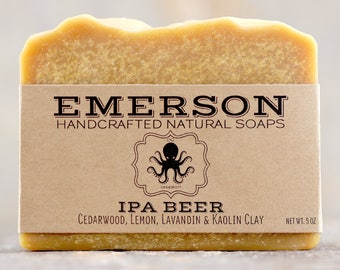 IPA Beer Soap with Cedarwood & Lemon • Vegan Soap, Palm Free Soap, All Natural Soap, Handmade Soap, India Pale Ale Soap, Gift for Him