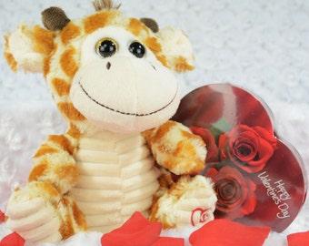 Giraffe Valentine Stuffy - Valentine's Day Gift - Personalized Gift - Giraffe Valentine