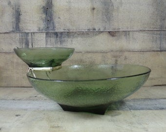 Hazelware Avocado Chip n Dip Serving Bowl Set, Pebbletone 3 pc Chip n Dip, Avocado Green, Hazel Atlas