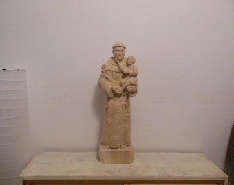 Wood Sculpture St. Anthony of Padua,hand made