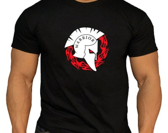 Quality Men's Spartan Warrior Ring of Fire T-Shirt. Gym Training Crossfit Workout MMA.