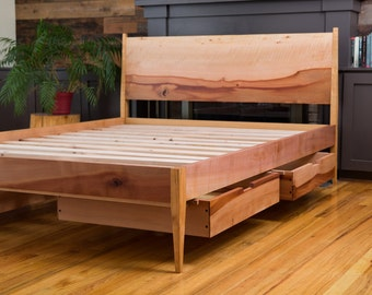 Modern Storage bed // Mid Century Modern Storage bed // Modern Shaker Storage bed