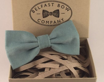 Handmade Corduroy Bow Tie in Duck Egg Blue - Adult & Junior sizes available
