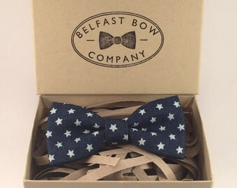 Handmade Junior Bow tie Stars on Denim