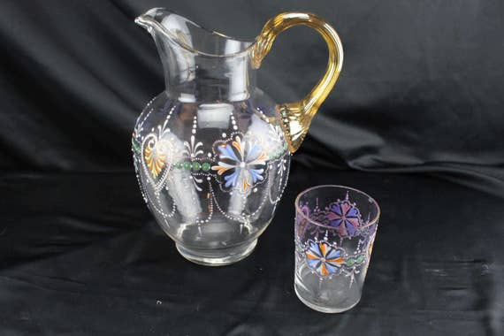 Moser Glass Pitcher and Glass, Nightstand Set, Clear with Enamel Decor