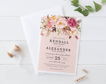 Printable Wedding Invitation Set, Bohemian Wedding Flower Botanical Peach Wedding Invitation, Summer Fall Autumn Spring Wedding Invitation