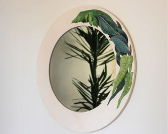 Round Mirror, botanical decoration painted on handmade plywood frame diameter 58 cm, customizable mirror