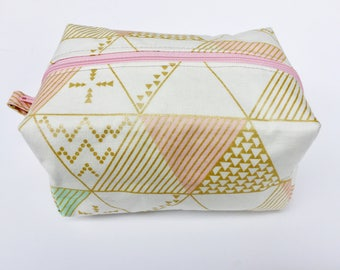 Geometric Bag - Cute Makeup Bag - Box Make Up Bag - Makeup Organizer - Gifts For Teens - Geo - Cosmetic Bag - Modern - Triangles - Girly